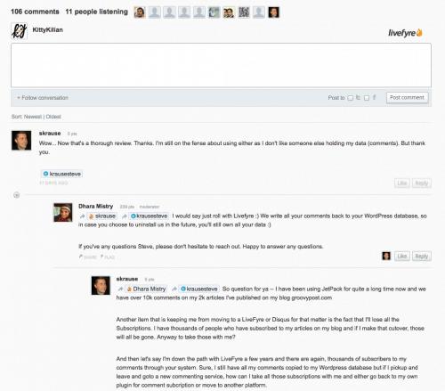 livefyre is niet optimaal om twitter comments op je blog te krijgen
