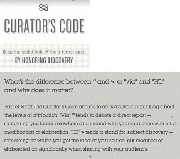 the curators code voor content attribution