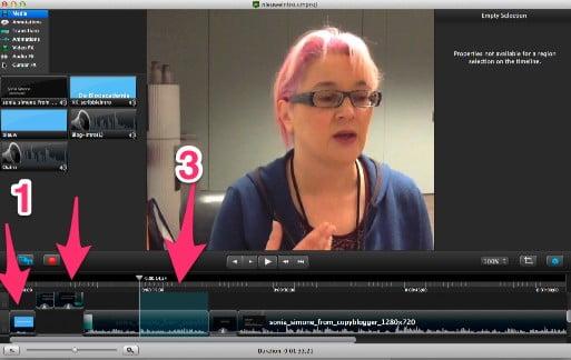 Voorbeeld van editen in Camtasia. 1=introductiefilmpje, 2=muziekje, 3=stuk om weg te snijden en weernaadloos te laten aansluiten