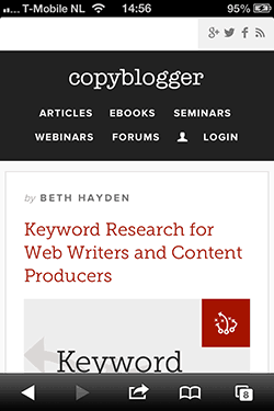 Copyblogger blogpagina ontwerp mobiel