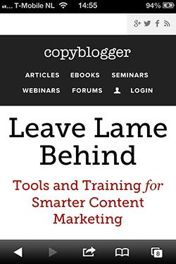 Copyblogger homepage mobiel