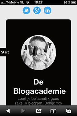 Homepage De Blogacademie mobiel