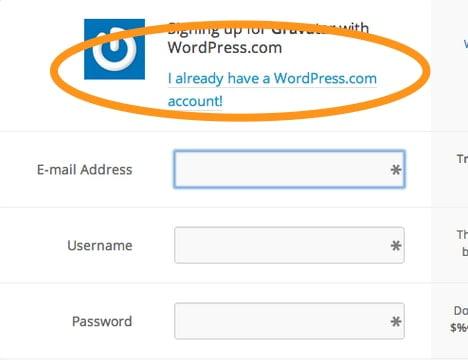 Stap 2. Je MOET een WordPress.com account aanmaken. Zie Techniek 4.