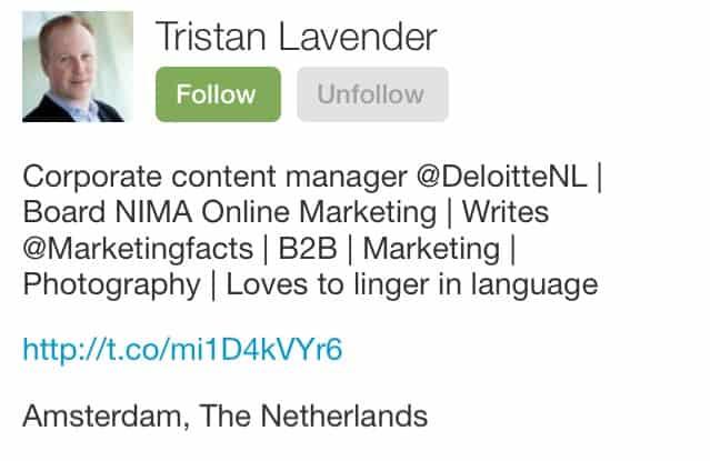 twitterbio van Tristan Lavender