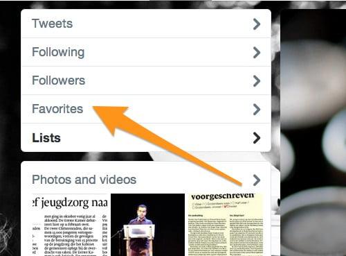 Je lijst met favorieten staat op je Twitter homepage