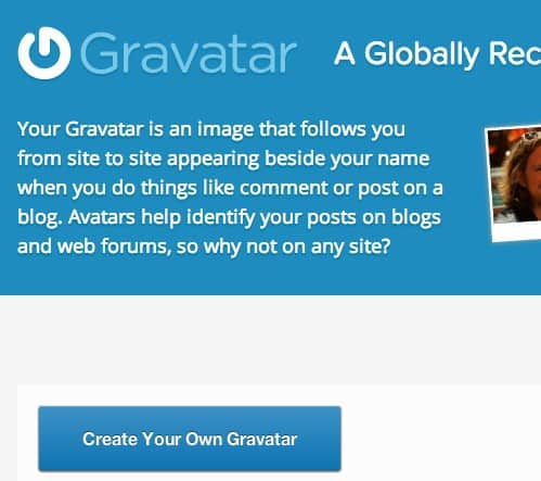 Gravatar account aanmaken: stap 1