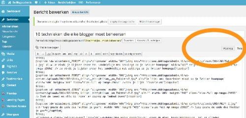 Hier kies je of je wil werken in WYSIWYG of in html ('tekst')