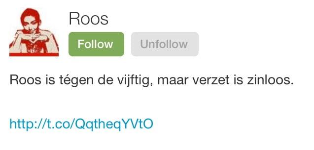 Twitterbio Roos ingekort