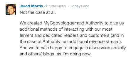 lezers moeten meteen door naar Mycopyblogger, en zo naar de upsell Authority