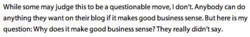Does it make business sense?
