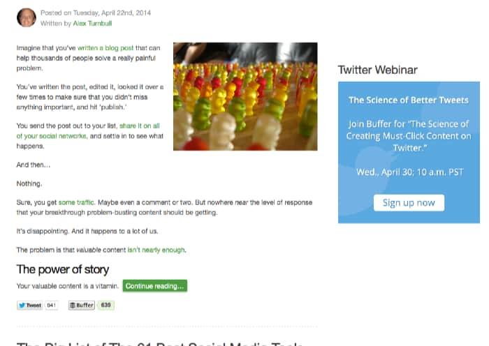 Op het blog van Bufferapp.com zweeft de intekenbox mee in de zijbalk. (Deze week wil Buffer liever dat je inschrijft voor een webinar). Er staat niets anders in de zijbalk.