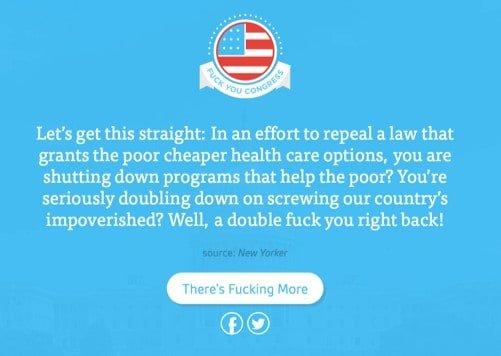 'Fuck you congress' (een site die oproept om niet alleen te schelden, maar ook te stemmen)