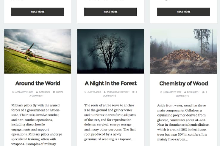 Blogoverzichtspagina in drie kolommen