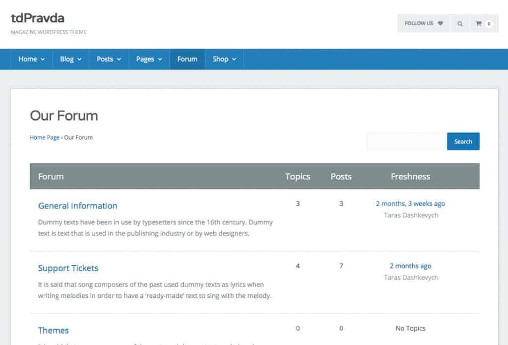 tdPravda heeft zelfs een webshop en een eenvoudig forum