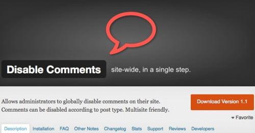 Een wordpress plugin die je comments voor pahina's laat uitzetten