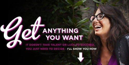 Header van de website van Marie Forleo, tekst: get anything you want