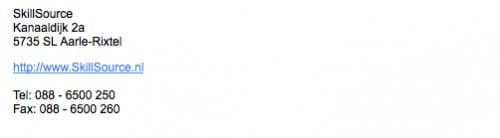 emailhandtekening van een firma in boekhoudprogrammatuur