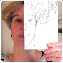 originele avatar met tekening en foto van eigen gezicht