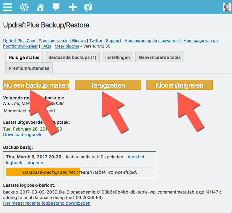 zorg voor backups van je wordpress site