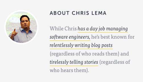 Op zijn blog heeft Chris Lema een leuke bio