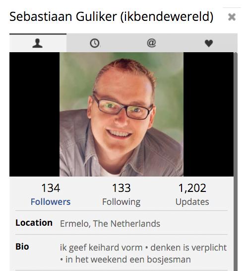 Twitterbio van Sebastiaan Guliker