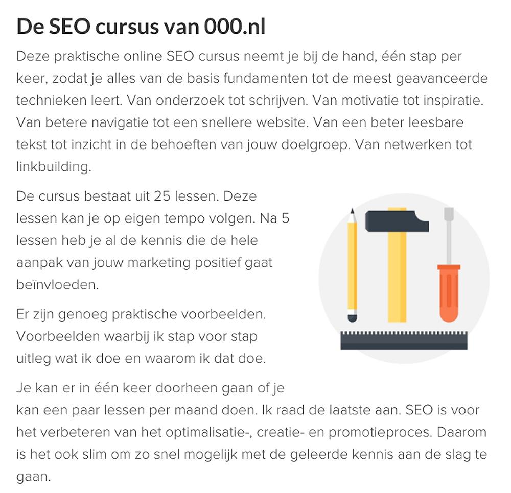 details op een salespage