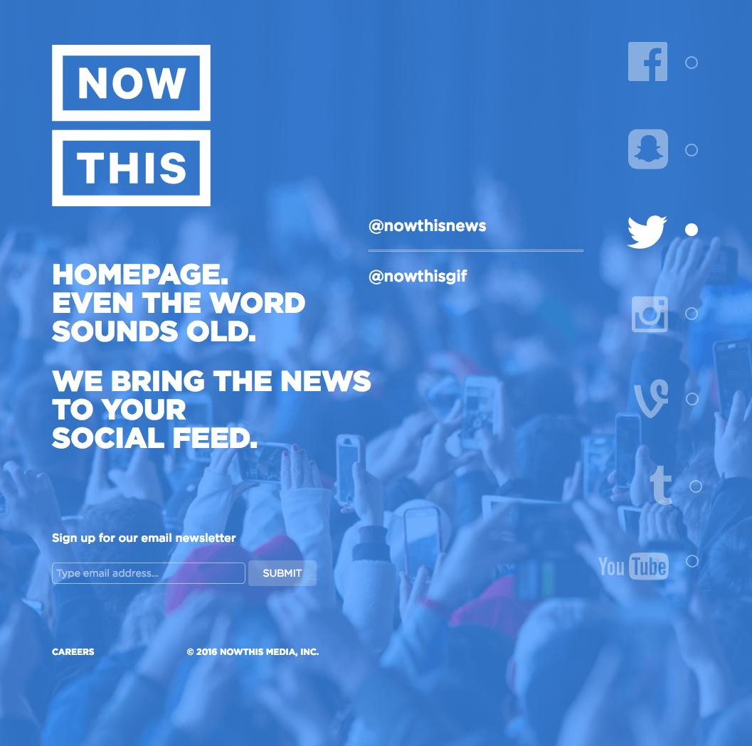 NOW This: homepage van een nieuwsbedrijf dat doet alsof het geen website nodig heeft