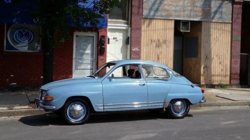 Oldtimer Saab 96, bij blog over hoe je een mannengesprek schrijft