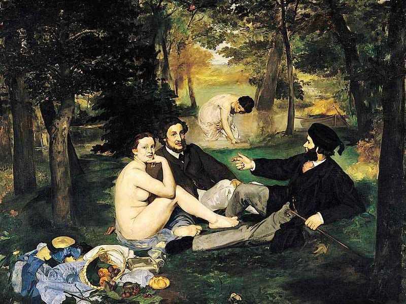 schilderij van Manet met geklede heren en ontblote vrouw op picnic