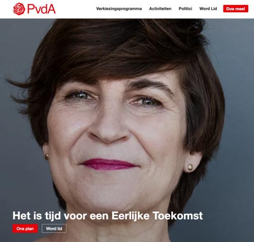 de boodschap van de PvdA onder de vouw van de homepage