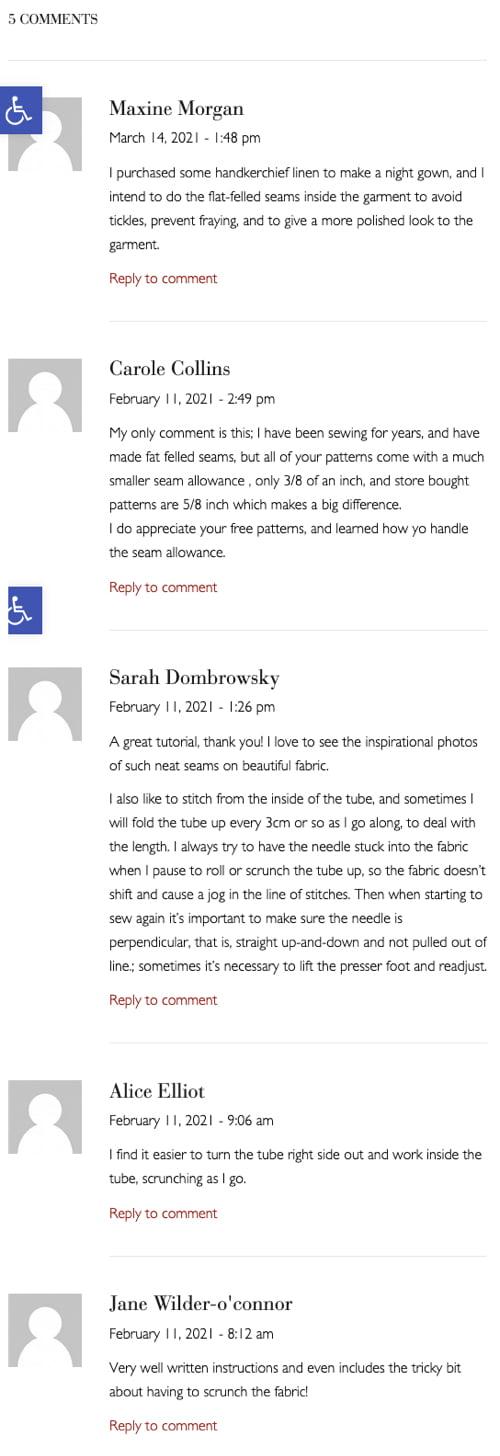 screenshot van onbeantwoorde comments op een Anmerikaanse site. Triest.