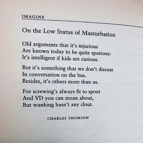 Thomson, poem: On the low status of masturbation