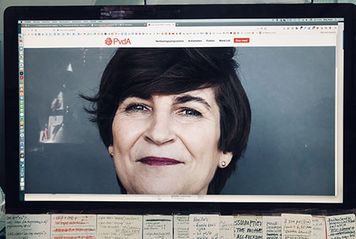 screenshot website PVDA: beeldvullend heroe-image van Ploumen